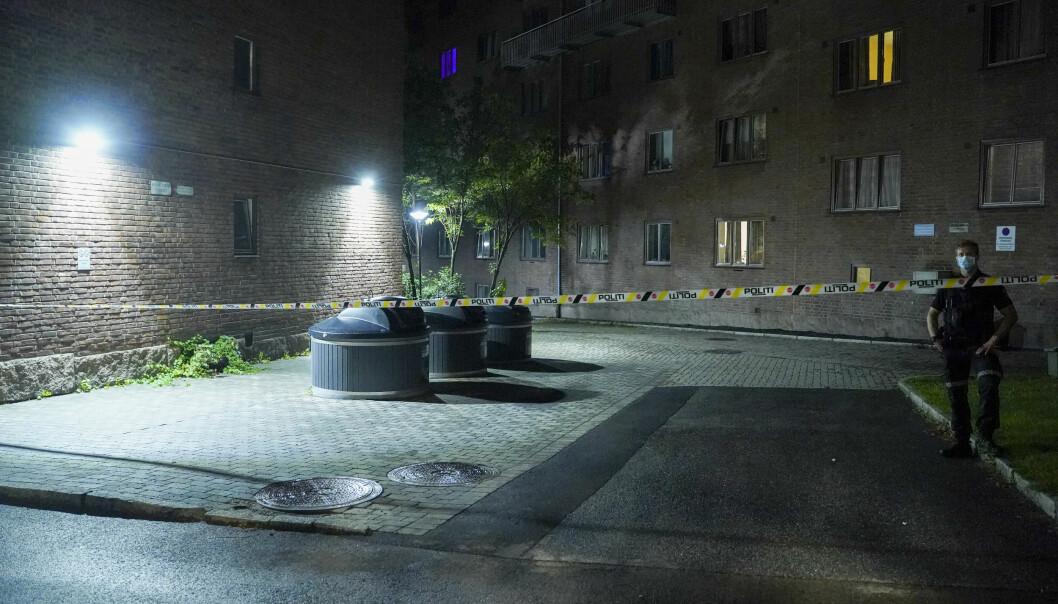 Oslo 20200814.  Det ble natt til fredag avfyrt skudd mot en leilighet på Bjølsen i Oslo. Foto: Fredrik Hagen / NTB scanpix