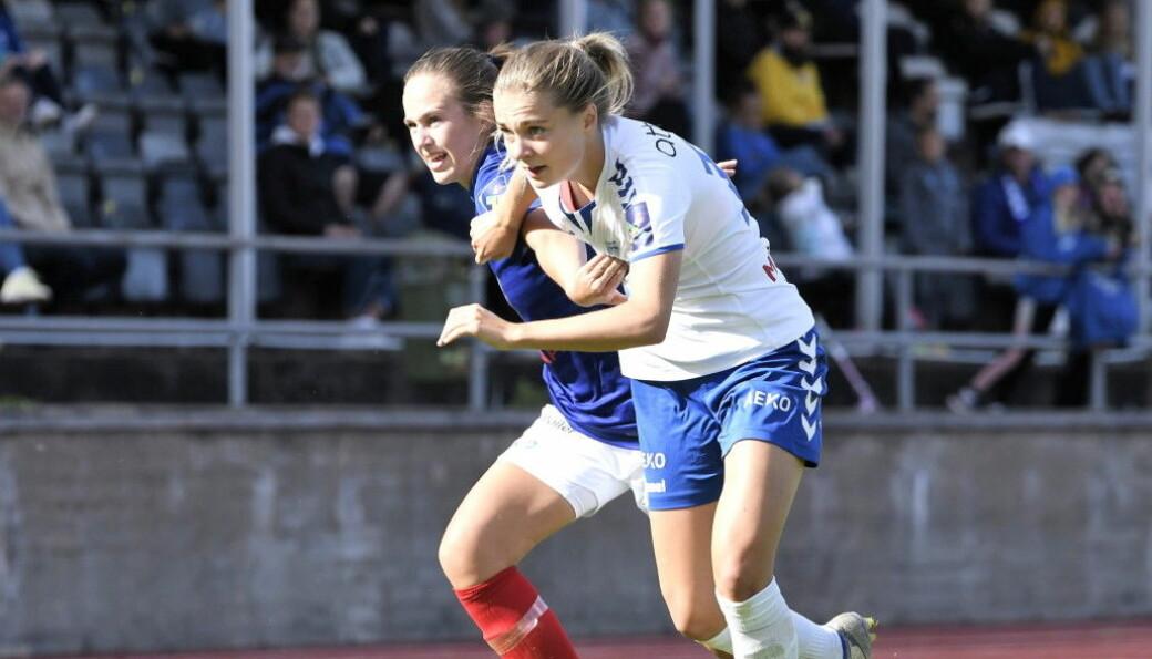 Vålerengas Tine Celine Karstensen gjorde et solid inntrykk i sin første Toppserie-kamp fra start.