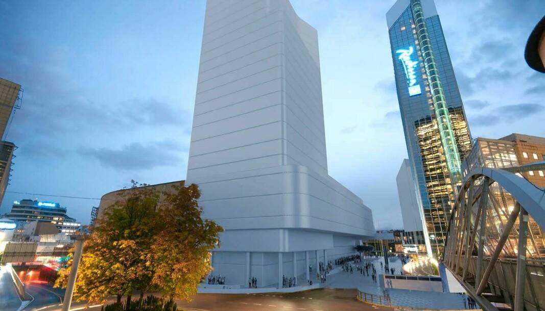 Forslaget fra LPO Arkitekter, på 117 meter ved Oslo Spektrum, sa plan- og bygningsetaten nei til. Men de aksepterte en høyde på 90 meter.