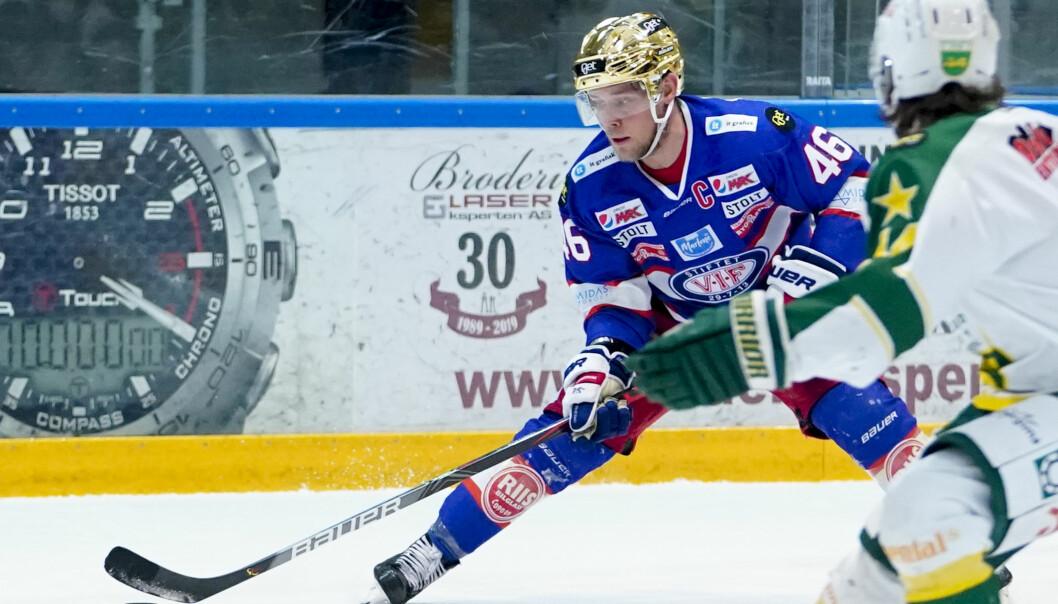 Vålerengas Tobias Lindström under eliteseriekamp i ishockey mellom Vålerenga og Manglerud Star..