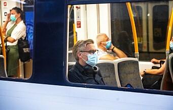 Anbefalingen om munnbind på kollektivtrafikken i Oslo forlenges i én uke