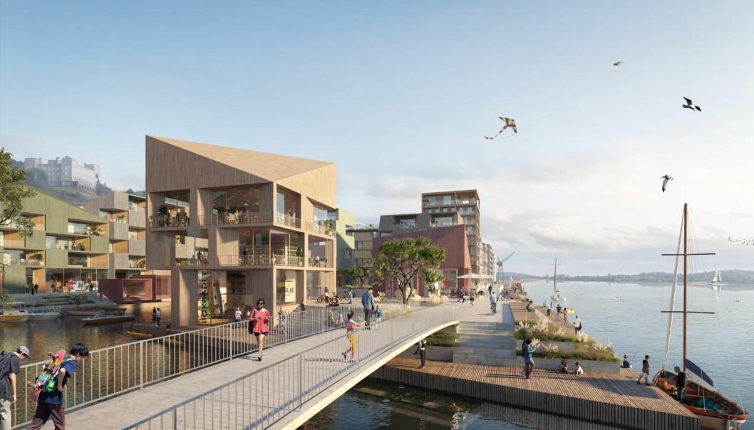 Slik er deler av den nye havnepromenaden planlagt langs Grønlikaia.