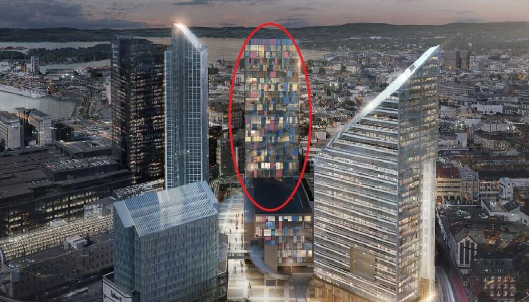 I midten av illustrasjonen kan du se hvordan nye Oslo Spektrum etter utbyggernes ønske bør se ut. Til høyre er det planlagte bygget Oslosolar
