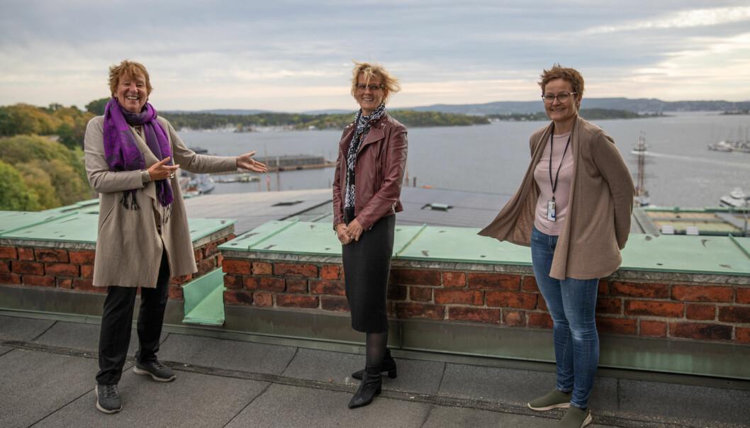 Vindgudene spilte ikke på lag da ordfører Marianne Borgen (f.v.), rådhusforvalter Marit Jansen og rådhusets driftsjef Kristin Sundby stolt viste frem det nye solcellepanelet.