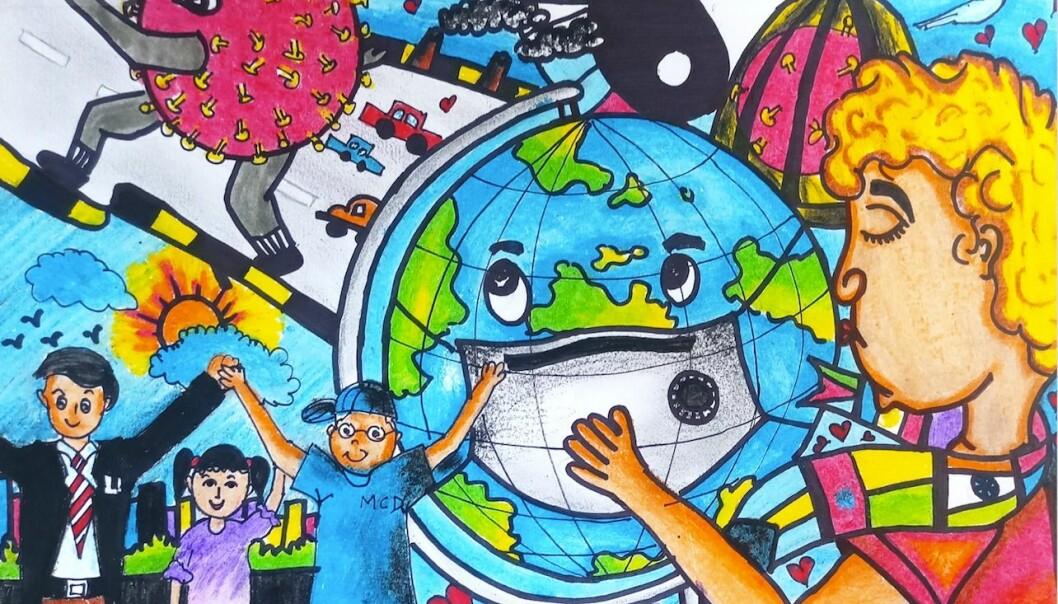 Utstillingen viser bilder tegnet av barn fra 64 ulike land, som alle sammen forsøker å lage et bilde på hva de forbinder med og opplever i relasjon til korona.