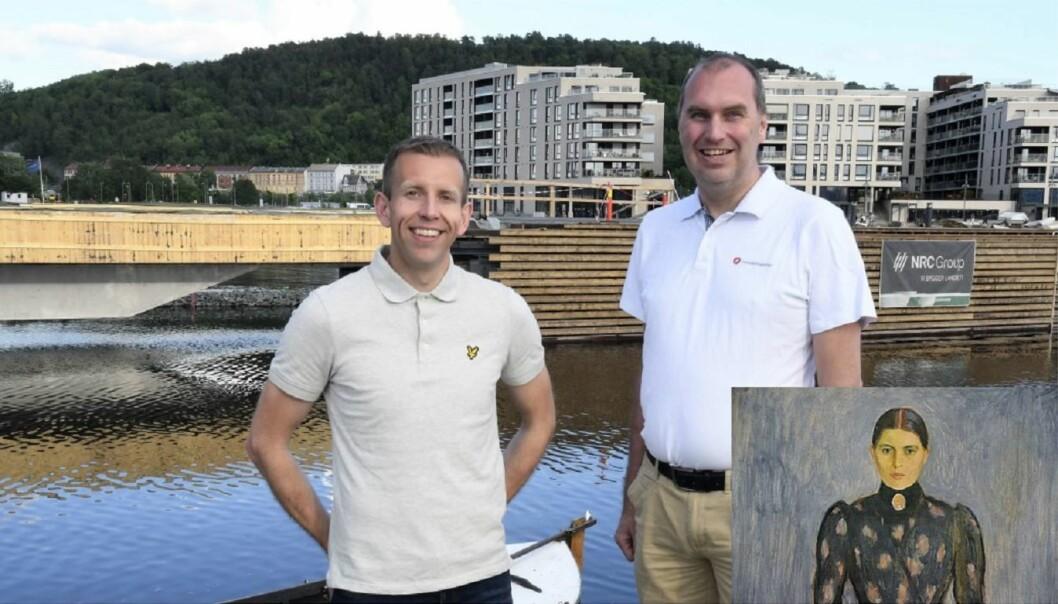 Leder av av navnekomiteen i bydel Gamle Oslo Steinar Heldal (SV) og Sigurd Fredeng (Frp) er godt fornøyd navneforsalget Inger Munchs brygge, om området bak dem. Inger Munch til høyre.