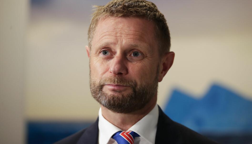 Helseminister Bent Høie under onsdagens pressekonferanse om koronasituasjonen.