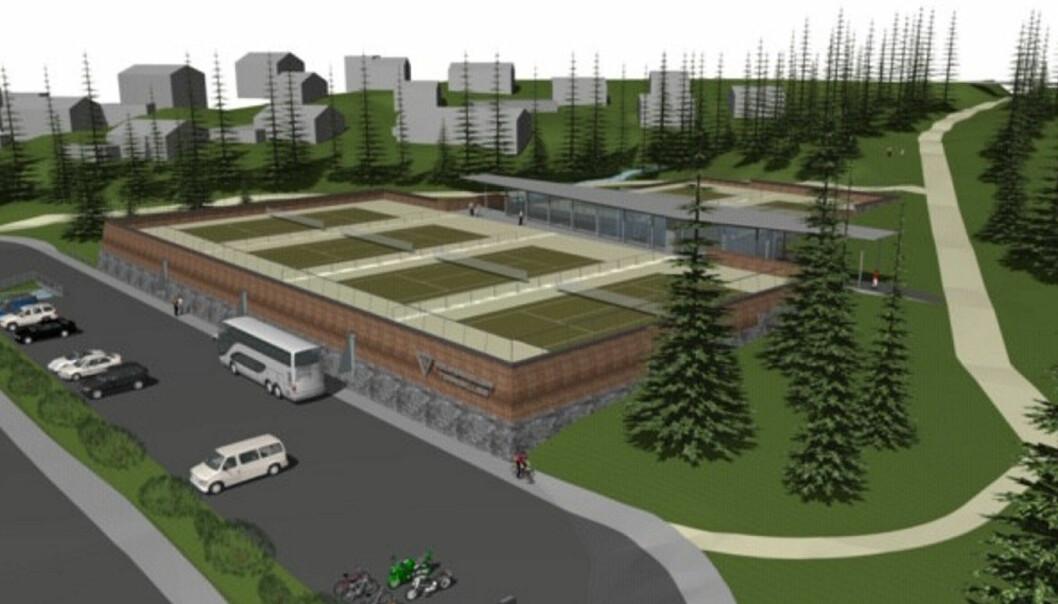 Holmenkollen Tennisklubbs planlagte tennisanlegg på Bautatomten.