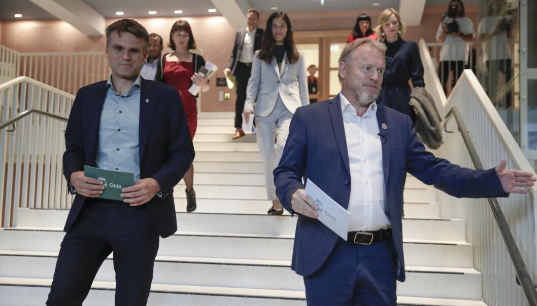 Finansbyråd Einar Wilhelmsen (MDG) og byrådsleder Raymond Johansen (Ap) har fått utsatt Arbeidstilsynets rapport flere ganger.