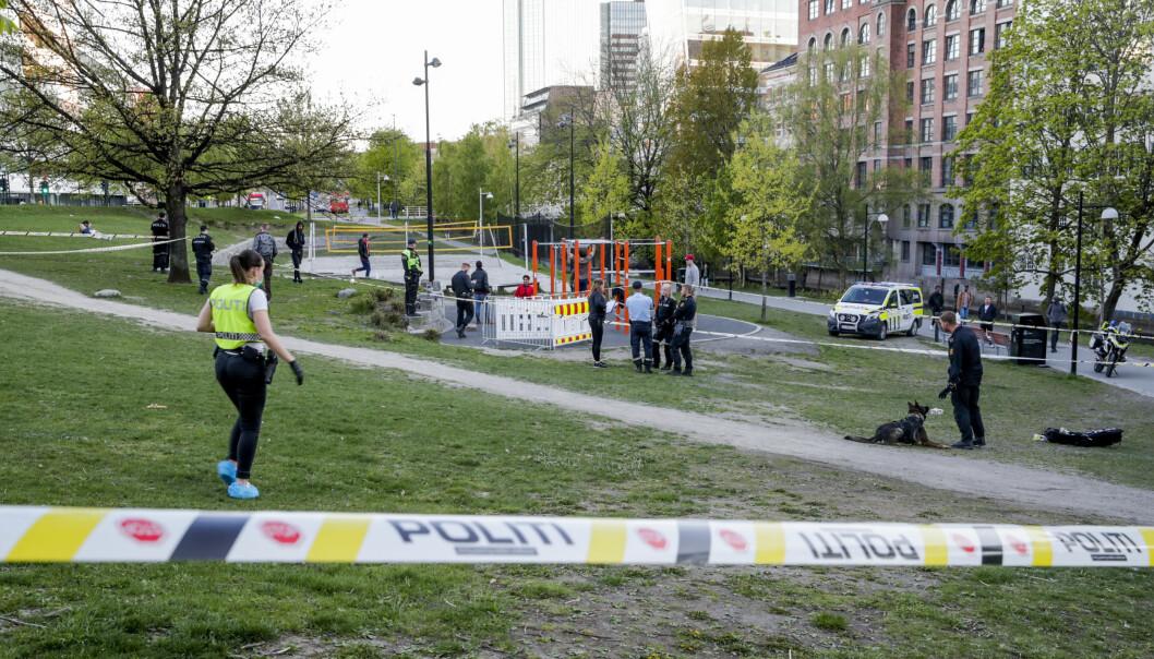 Politiet på Elgsletta etter en knivstikking i mai i år. Parken er et kjent tilholdssted for mange rusavhengige i Oslo.