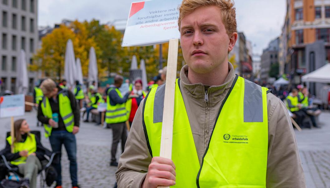 Haakon Melhus (23) jobber som vekter i Securitas, men deltar i sin første streik.