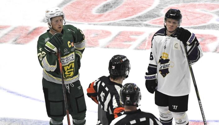 Grüner-kaptein Håvard Steen og hans motpart Joachim Hermansen var stadig i diskusjon med kampens dommere torsdag kveld.