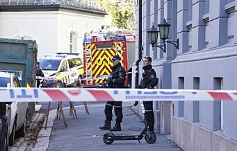 Granat funnet i bakgård i Niels Juels gate på Frogner. Politiets bombegruppe rykket ut