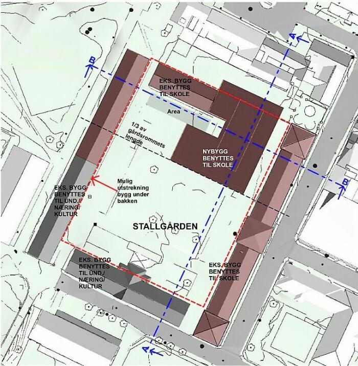 Slik ser arkitektene for seg at den nye videregående skolen plasseres inn i kvartalet i Myntgata 2.