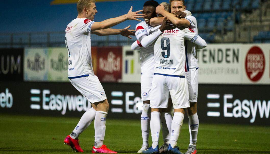 Vålerengajubel i eliteseriekampen i fotball mellom Sandefjord og Vålerenga på Sandefjord Arena.