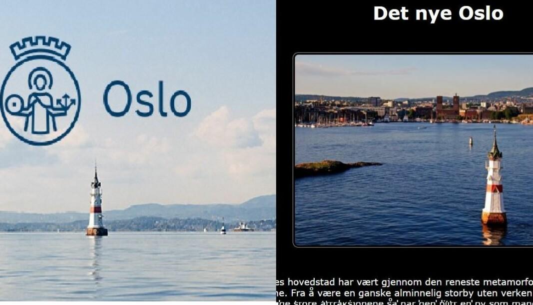 Til venstre ser man logoen og det gjenkjennbare fyrtårnet som brukes av Oslo kommune. Til høyre seg man bilde som brukes på den «falske» nettsiden.