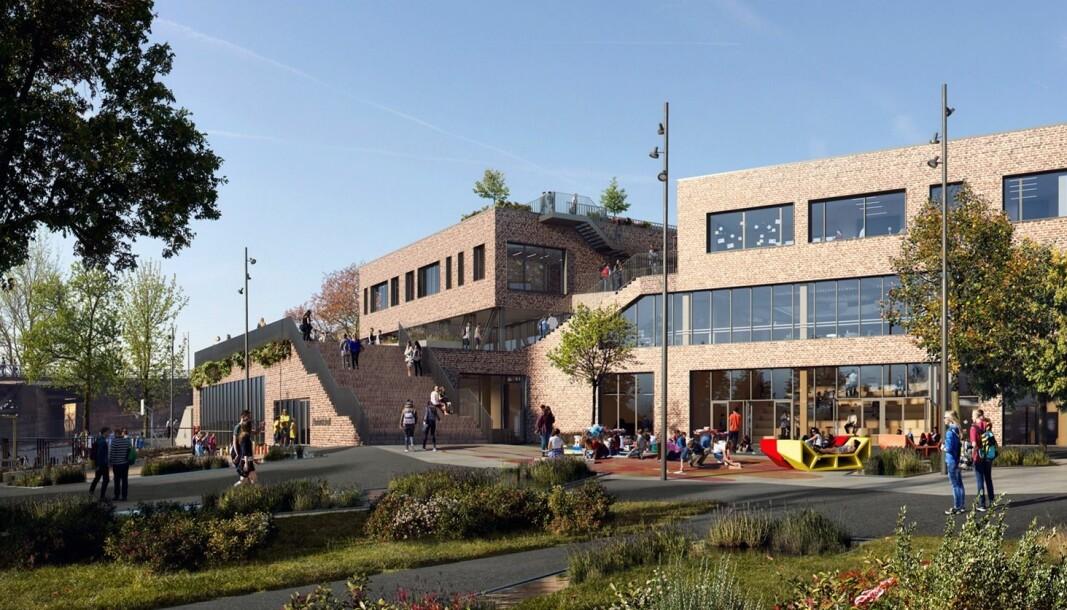 GRØNN SKOLE. Sånn ser Ola Roald Arkitektur i sine plantegninger for seg at den nye skolen ved Bentsebrua skal bli, med hager på taket, park rundt og tiltak for biologisk mangfold.