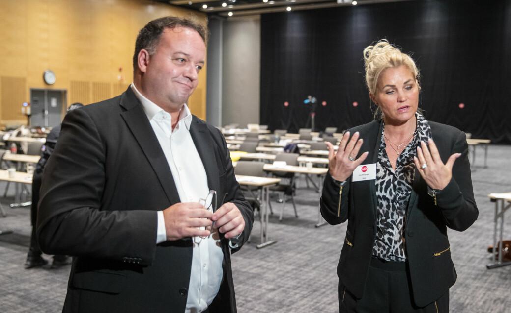 Frode Myrhol (t.v.) lå an til å tape lederkamp mot Cecilie Lyngby før valgkomitéen fant frem til et kompromiss.