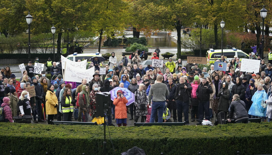 Anslagsvis 150 demonstranter på Eidsvolls plass søndag ettermiddag.
