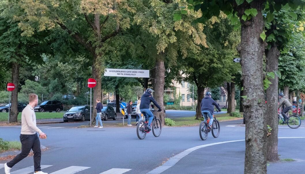 Syklister i Gyldenløves gate på Frogner. Der kommunen nå anlegger kontroversielle sykkelveier i begge retninger.