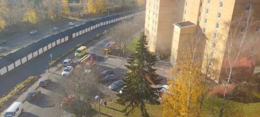 Brann i ti etasjer høy blokk i Sigrid Undsets vei på Tveita. Slukket
