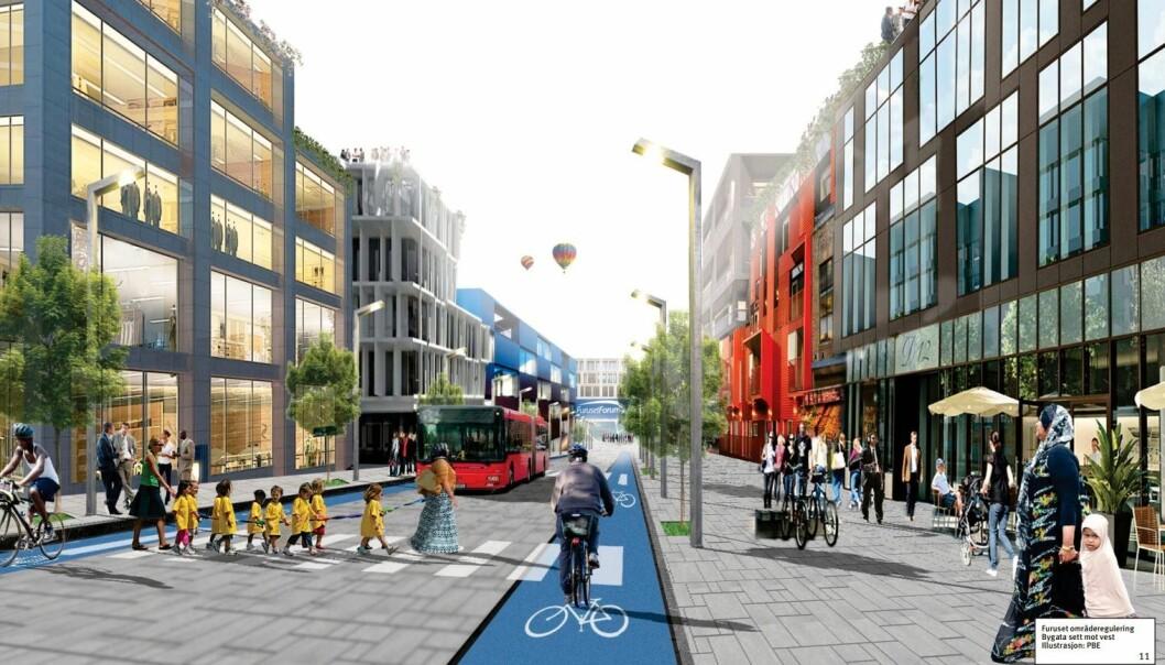 Bygata på Furuset tilrettelagt for syklister, fotgjengere, kollektivtrafikk og handel.