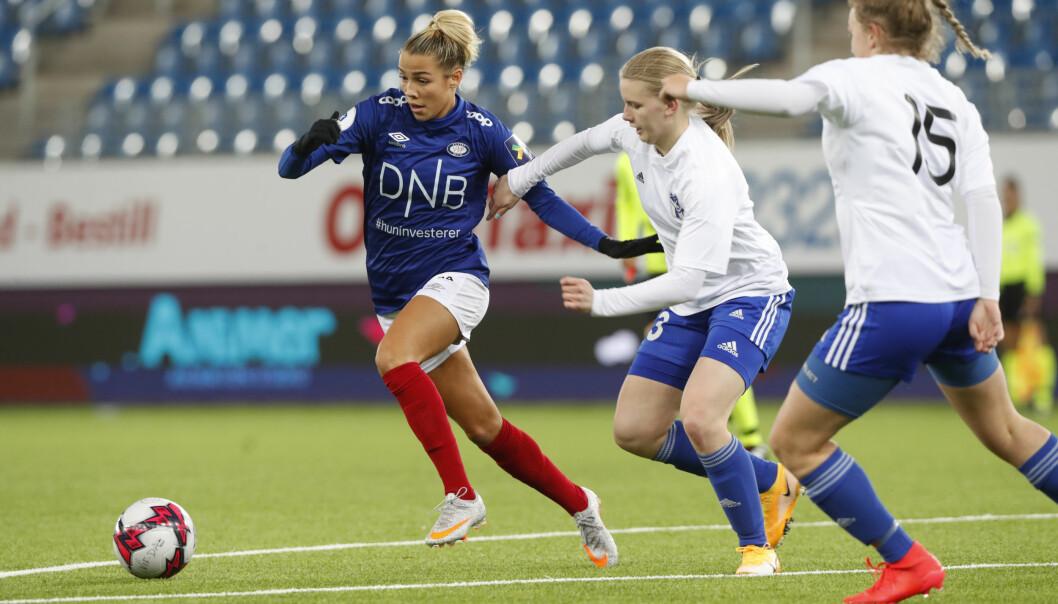 Celin Bizet Ildhusøy, fra Vålerenga, mot Klaksvik (Færøyene) i første mesterligarunde.
