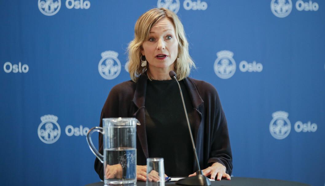 Kunnskapsbyråd Inga Marte Thorkildsen under en pressekonferanse i Oslo rådhus om koronasituasjonen i Oslo fredag.