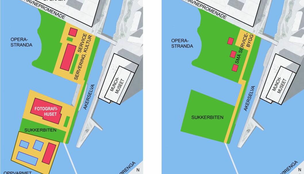 Til venstre: Full utbygging med Fotografihus på Sukkerbiten, stort bygg på Operastranda og stort, oppvarmet sjøbad syd for Sukkerbiten. Til høyre: Sammenhengende friområde på Operastranda og Sukkerbiten, med fri, offentlig adkomst.).