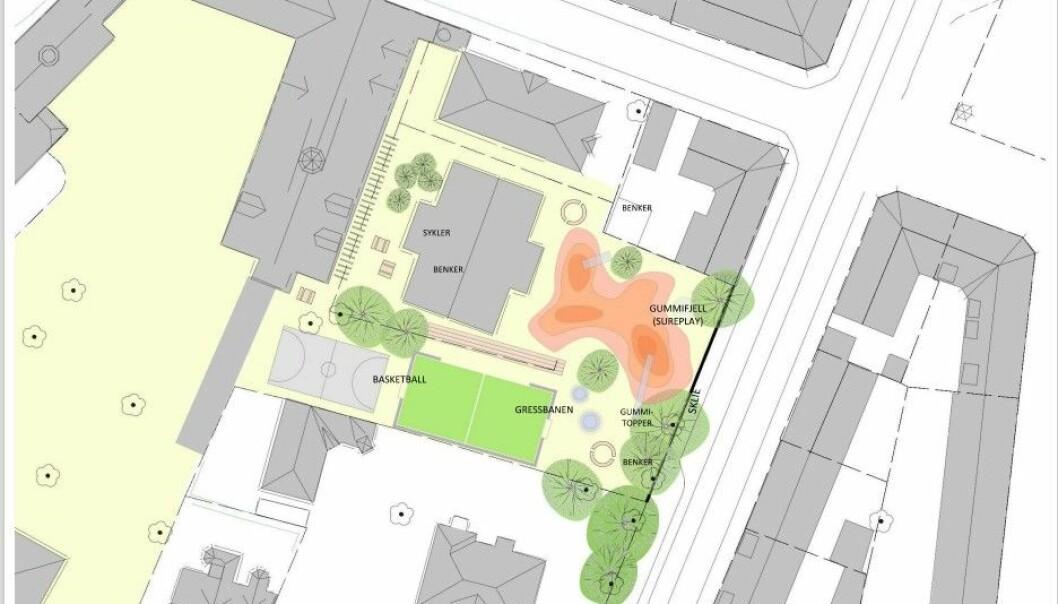 Sånn forestiller FAU seg at et utvidet uteareal for skolebarna kan komme til å se ut dersom naboeiendommen i Vogts gate 26 og deler av Holst gate 3, der Sagene Festivitetshus holder til, blir innlemmet i skolegården.