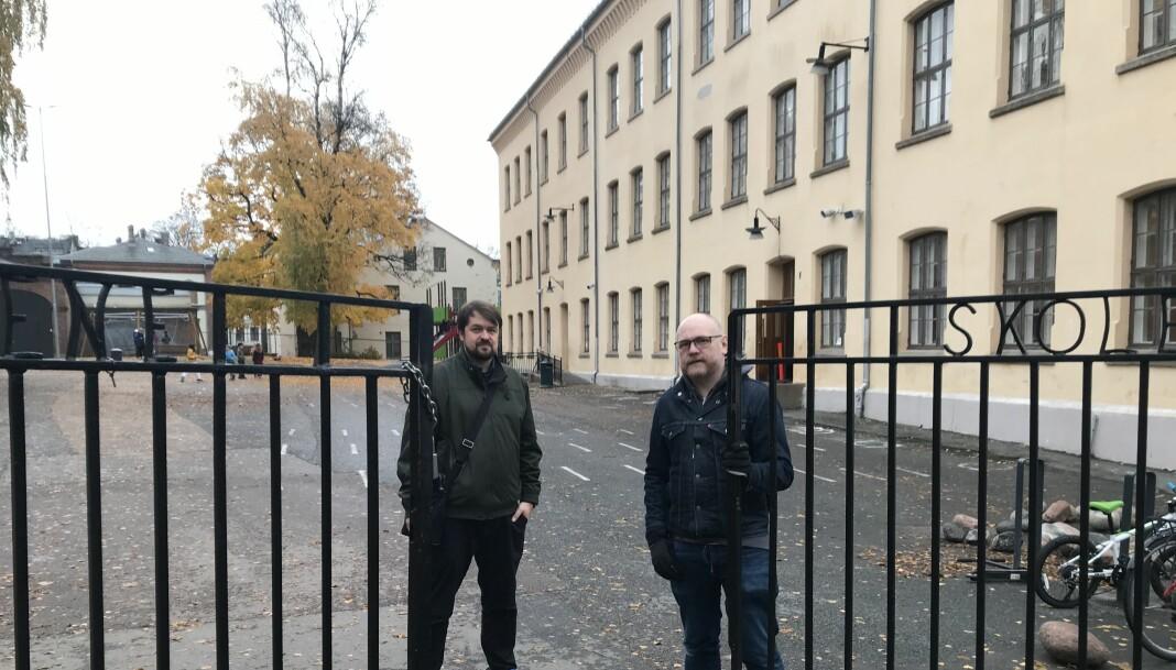 Torhild Hovde Lyngstad og Tommy Bull Henstein fronter foreldreaksjonen for å få en grønnere og utvidet skolegård.