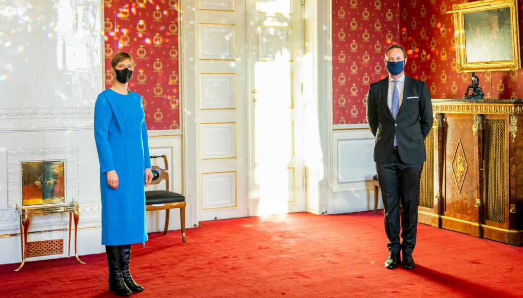 Kronprins Haakon tok i mot Estlands president Kersti Kaljulaid i audiens på Slottet i fredag.