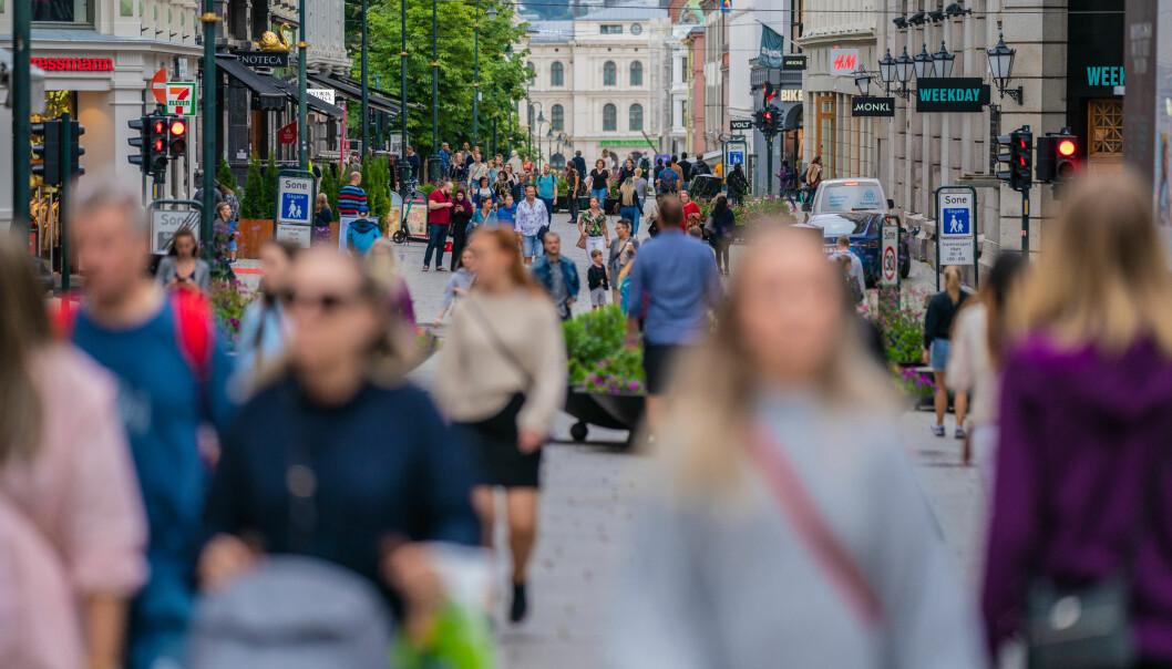 Osloborgere på Karl Johans gate en dag i august.