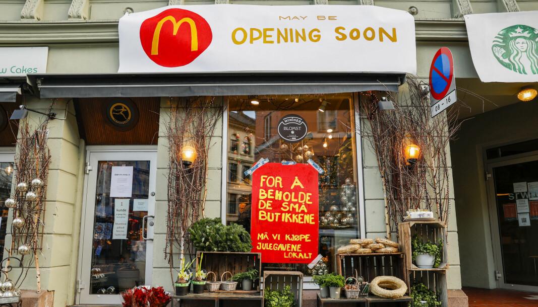 Både norske og internasjonale kjeder blir brukt i kampanjen som har som mål å ta vare på de lokale uavhengige butikkene.