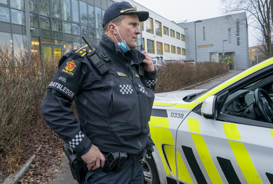 Innsatslder Arve Røttum etter at 14-åringen var fraktet til Ullevål sykehus med stikkskader. Noen timer senere ble en 15-åringen pågrepet mistenkt for ugjerningen.