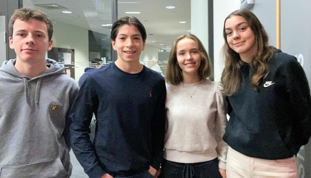 Jonas Nilsen Fagerhaug (16), Philip Melchior (16), Marte Fjeldstad (16) og Nikoline Eriksen Sletvold (16) fikk en 3. plass under finalen i osloregionens innovasjonscamp 2020.