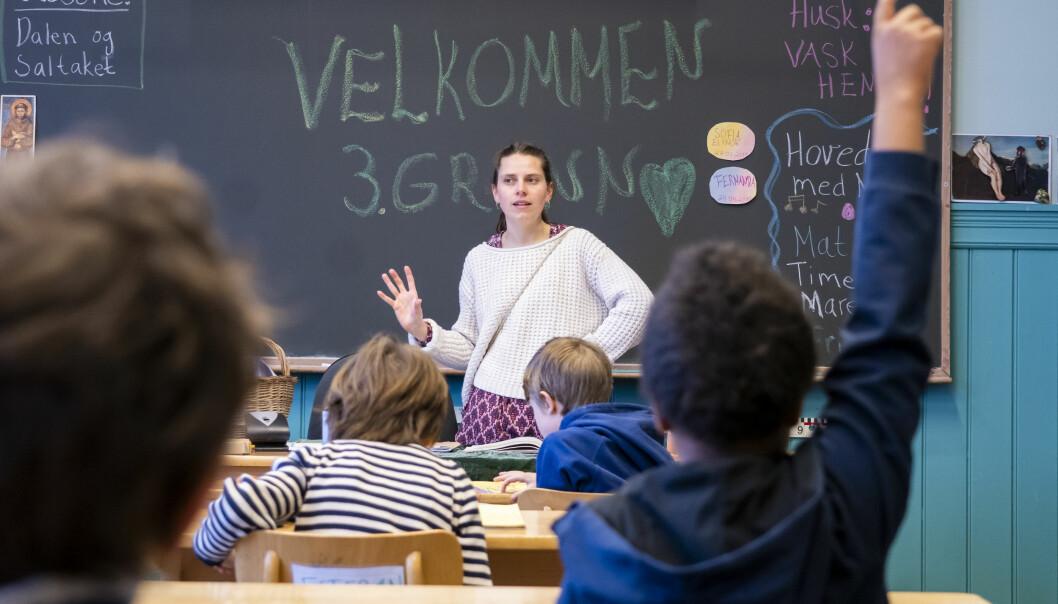 Lærer Maria Gystad er glad for at 3. klasse elevene på Nordstrand Steinerskole er tilbake i klasserommet.