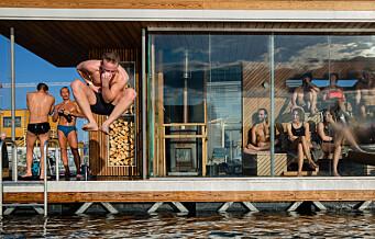 Badstuflåtene på Operastranda har endelig ankret opp et nytt sted. Gjett hvor?