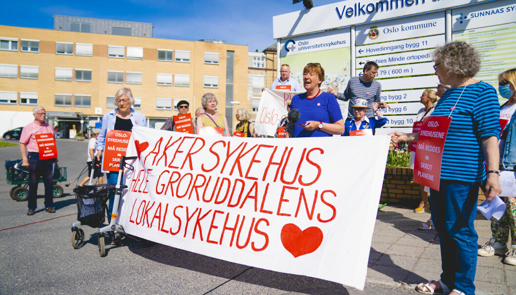 Oslo-ordfører Marianne Borgen (SV) holder appell under demonstrasjonen utenfor Aker Sykehus sommeren 2020.