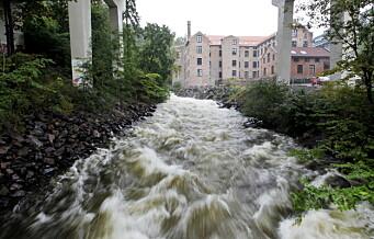 Flomvarsel langs Akerselva: Det ventes over 80 millimeter nedbør i Oslo