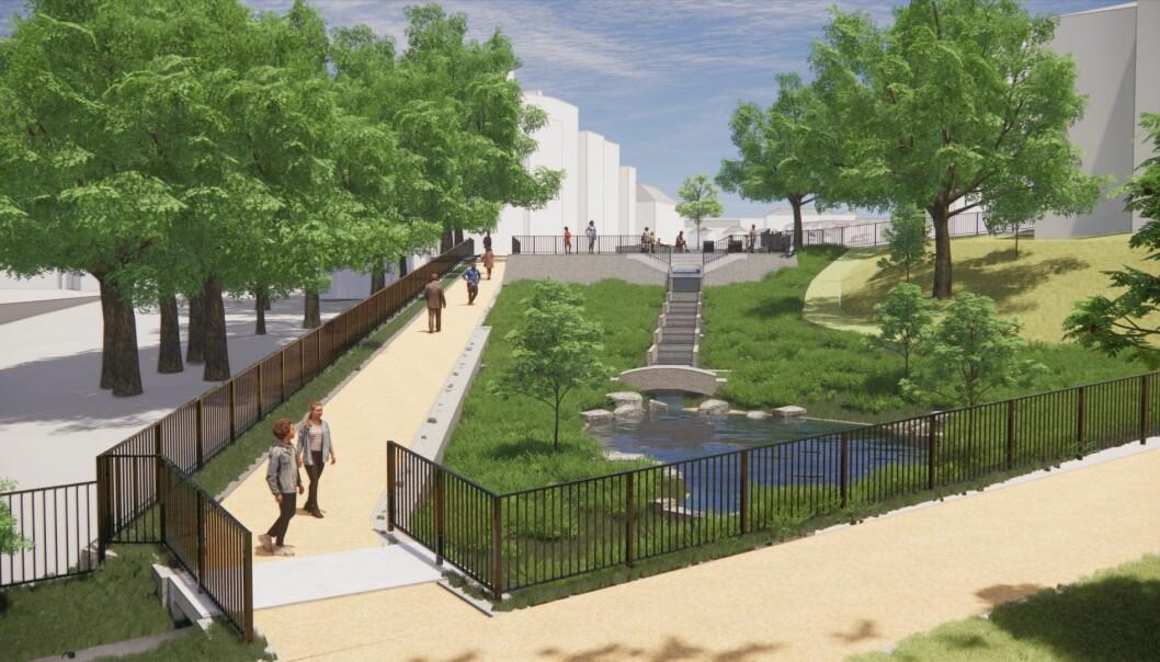Slik ser man for seg at Klosterenga park skal se ut i løpet av 2022.