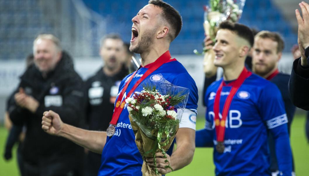 Jonatan Tollås Nation og resten av Vålerenga-spillerne kunne juble for tredjeplass i Eliteserien forrige sesong.
