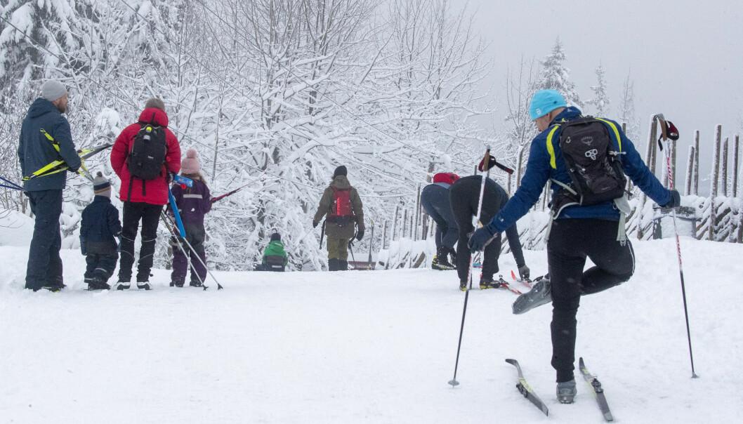 Flere har tatt turen ut på ski i marka. Her fra Frognerseteren i Oslo.