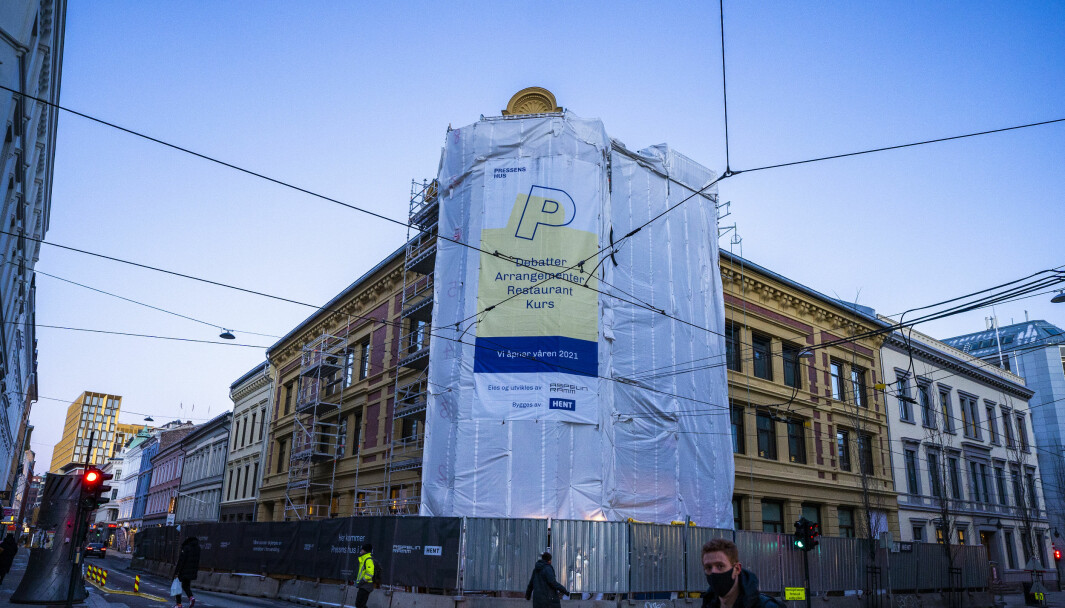Pressens hus er under oppføring i Skippergata i Oslo. Nå er alle arbeider stanset på grunn av et smitteutbrudd på byggeplassen.
