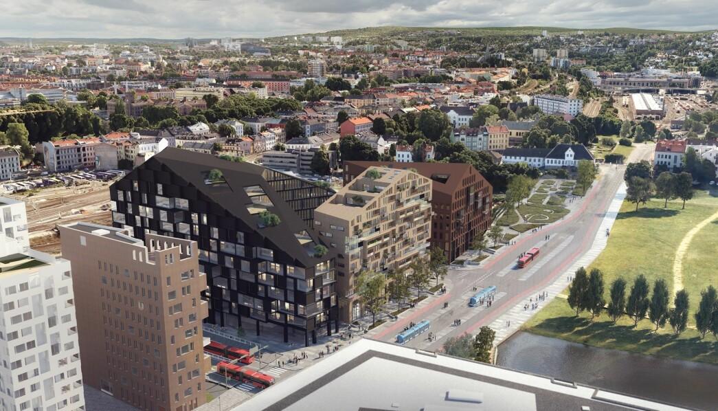 Her er forslaget til utbygging av C6 med boliger og næringsbygg, sett fra taket på et av høyhusene skrått over gaten. Bebyggelsen er ser dermed lavere ut her enn på visualiseringen under.