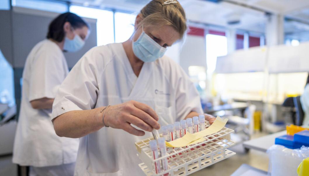 Bioingeniøren Lise Andresen tar med seg positive koronaprøver til sekvenseringsavdelingen på Ullevål Sykehus, for å lete etter muterte koronavirus.
