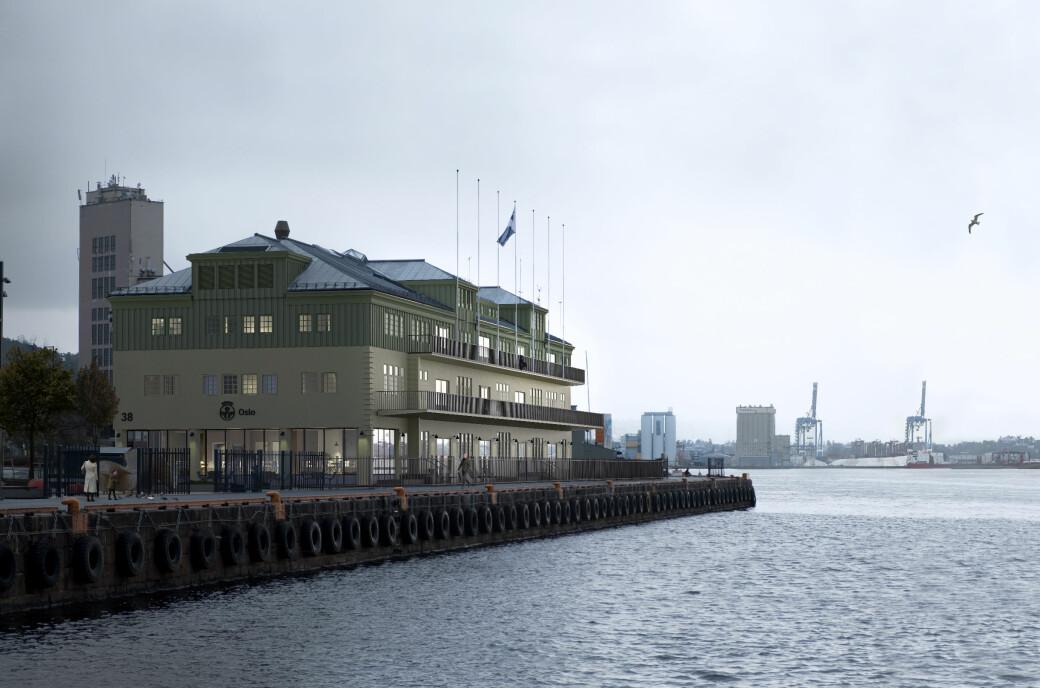 Illustrasjon av Oslo Havns lokaler i Skur 38 slik det vil se ut etter rehabiliteringen som er ferdig i 2022.
