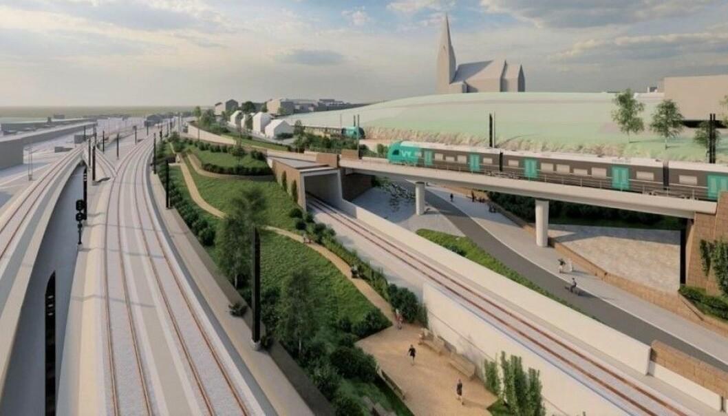Slik ser Bane Nor for seg at prosjektet i Brynsbakken vil se ut når det står ferdig i 2025.