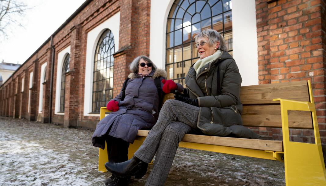 På fredag satte Ruter ut en benk ved Sporveismuseet på Majorstuen, slik at gående kan ta seg en hvil, før de går videre.