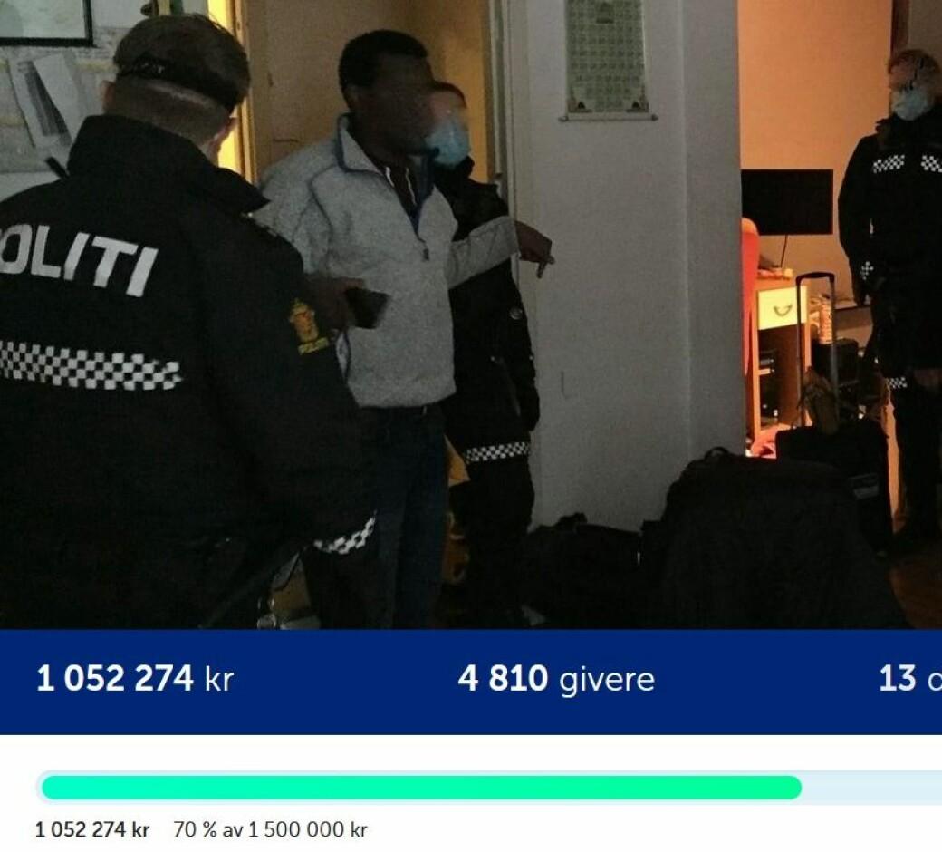 Skjermdump fra Spleis.no søndag klokken 14. Pengene bare fortsatte å strømme inn til Mohamad Jama og familien på Tøyen.